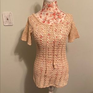Tops - Vintage beige hand knitted top